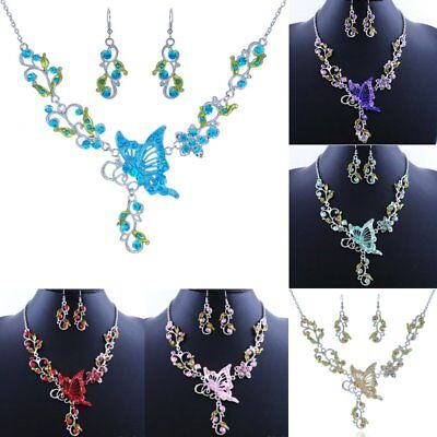 Women Butterfly Flower Crystal Rhinestone Necklace Earrings Wedding Jewelry Set