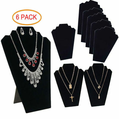 Black Jewelry Holder Display (6 PIECES NECKLACE JEWELRY DISPLAY STAND Black Velvet Pendant Holder Mannequin)