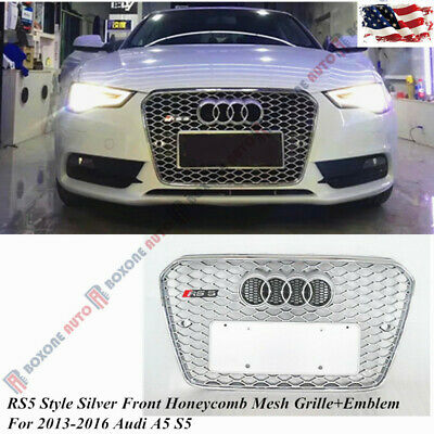 RS5 Style Silver Front Honeycomb Mesh Grille+Emblem Fit For 2013-2016 Audi A5 S5