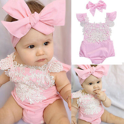 US Newborn Baby Girl Romper Lace Floral Jumpsuit Headband Outfits Set Clothes