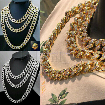 """18K Iced Out Cuban Chain 18""""20"""" 24"""" Diamond Necklace Shiny Mens Hiphop Jewellery"""