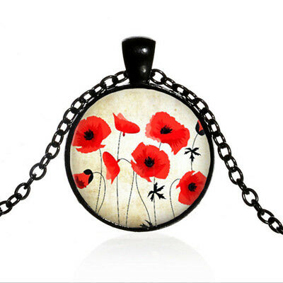 Red Flower Photo - Vintage Red Poppies Flower Black Dome glass Photo Art Chain Pendant Necklace
