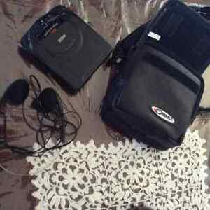 Portable RCA CD player with headphones and case