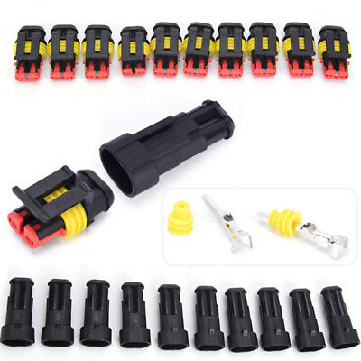5x 2pin Car Waterproof Electrical Connector Plug With Wire Awg Marine Black
