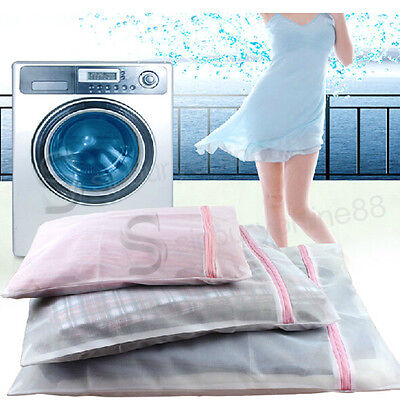 3x Laundry Washing Mesh Net Zipped Wash Bag Lingerie Underwear Bra Clothes Socks