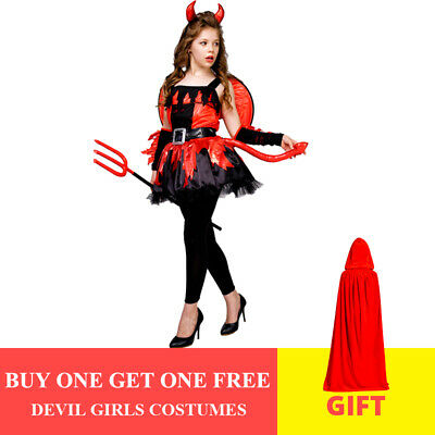Angel Dress For Boys (Devil girl Dress Flame Angel from Hells Theme Party for Halloween Cosplay)
