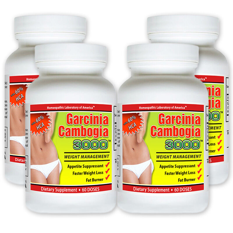 4 Pack PURE Garcinia Cambogia Extract Natural 100% Weight Lo