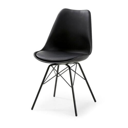 Zwarte design stoelen metalen onderstel goedkope stoelen for Zwarte eetkamerstoelen