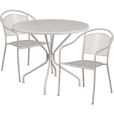 35.25 Round Light Gray Indoor-outdoor Patio Restaurant Table Set W2 Chairs