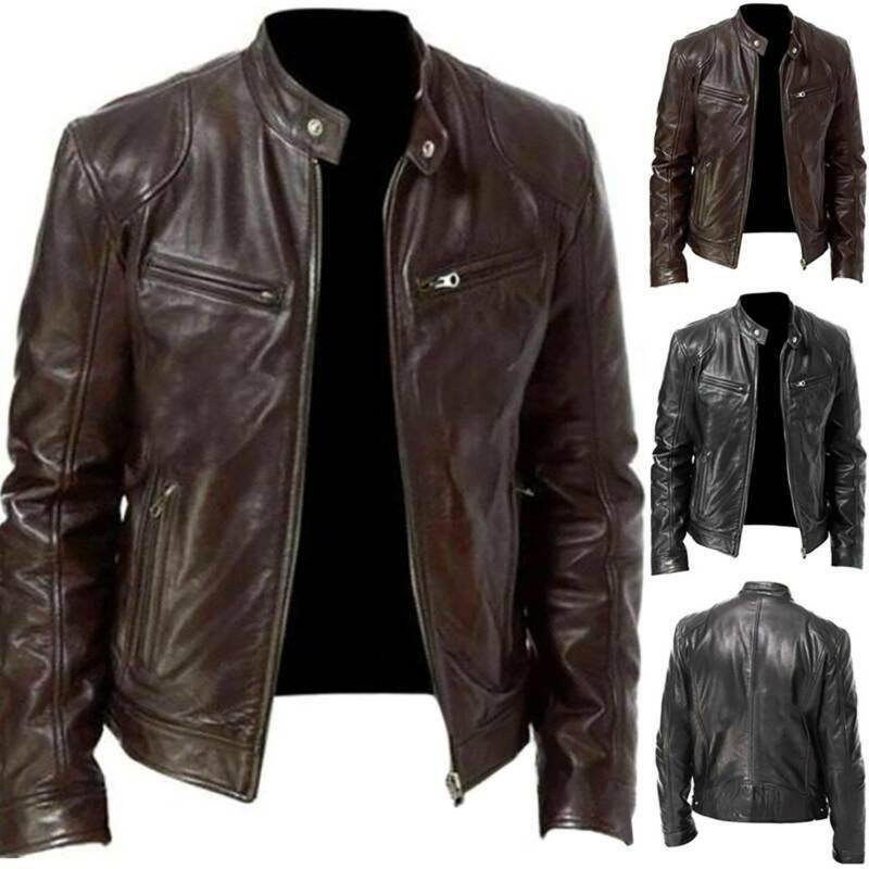 Mens Black & Brown Slim Fit Leather Jacket Vintage Biker Ret