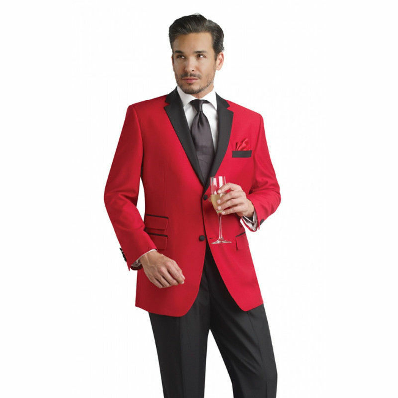 Hot Red Jacket Black Lapel Men S Wedding Suits Prom Groomsman Tuxedo Custom New Ebay