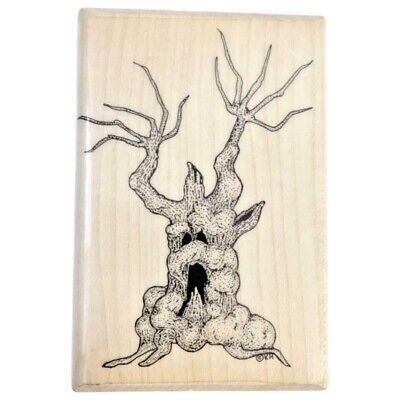 New Most Haunted Halloween (Halloween Terrifying Tree BIG rubber stamp Mostly Animals 557-S7 spooky)