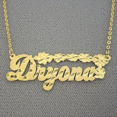 10k Solid Gold Diamond Cut Personalized Name Necklace Custom Made Bling Jewelry ()