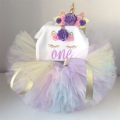 Halloween Birthday Outfits (Baby Girls 1st Birthday Unicorn Headband Party Halloween Tutu Dress Outfits)