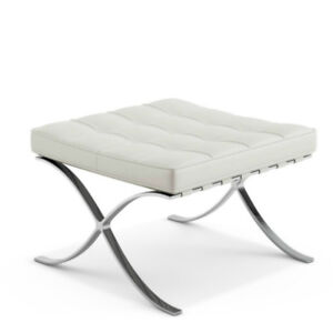 Barcelona Ottoman in white italian leather
