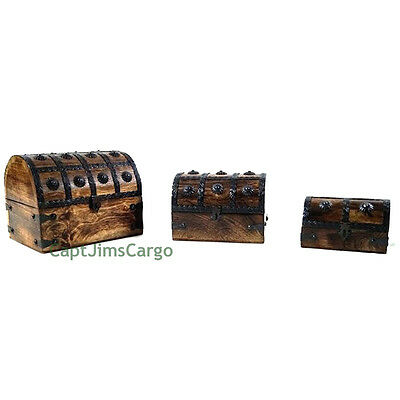 "Pirate Treasure Chest 8"" Nested Wooden Keepsake Boxes Set of 3 Nautical Decor"
