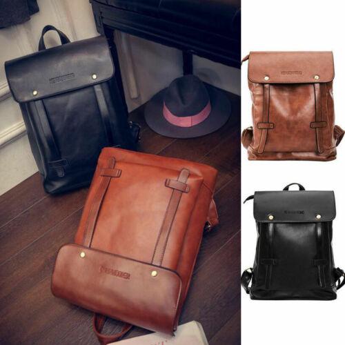 Unisex Vintage Leder Rucksack Reisetasche Laptop Schultasche Herren Damen Bag DE