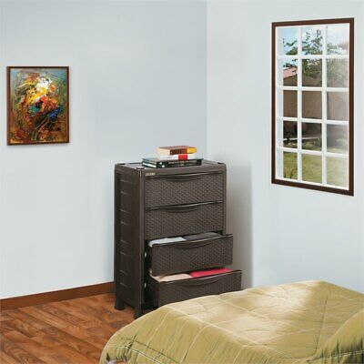 Rimax Brown 4-Drawer Resin Rattan Chest