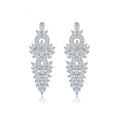 Antique Long Dangle Earrings Marquise-cut and Round-cut Inlay Cubic Zirconia Antique Cubic Zirconia Earrings