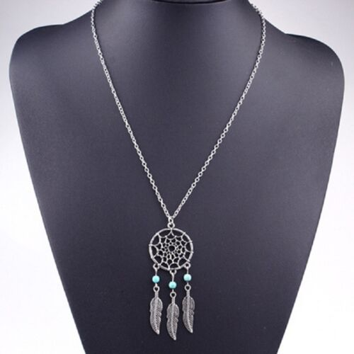 Fashion New Lucky Bohemian Dreamcatcher tassel feather necklace Earring+necklack