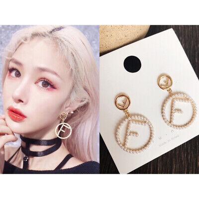 Trendy Charm Pearl Earrings For Women Fashion Gold F Letter Statement  Earrings