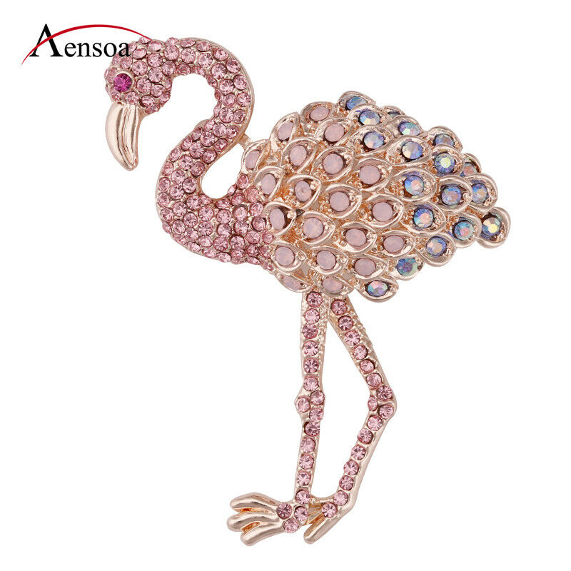 Fashion Women Alloy Enamel Crystal Pink Flamingo Animal Brooch Pin Jewelry Gift