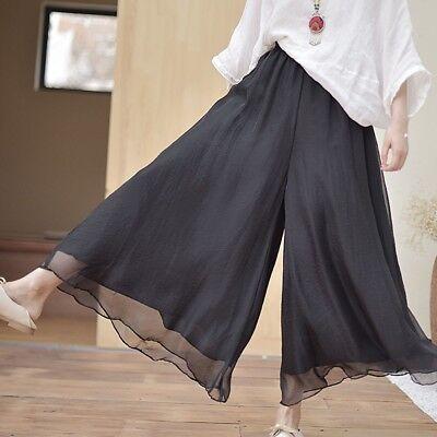 Ladies Faux Linen Wide Leg Pants Long Ethnic Vintage Palazzo Trouser Dance Yoga - Leg Dance Pants