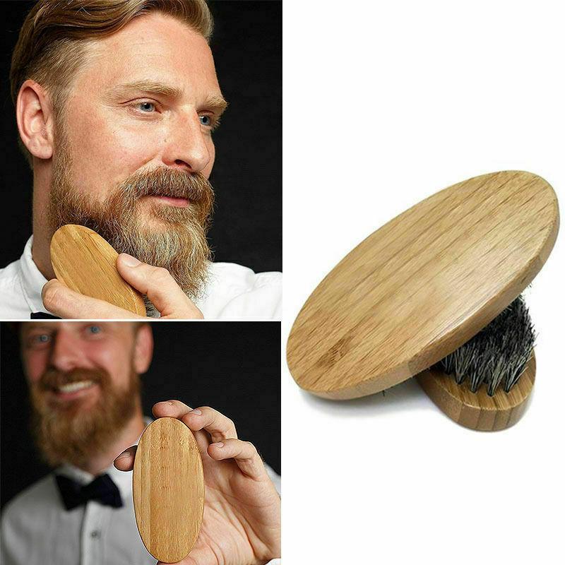 Mens Boar Hair Bristle Beard Mustache Brush Military Hard Ro