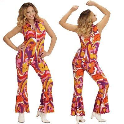 70er Chic Disco Dancing Queen Overall Damen Kostüm Jumpsuit Schlagermove - Hippie Chic Kostüm