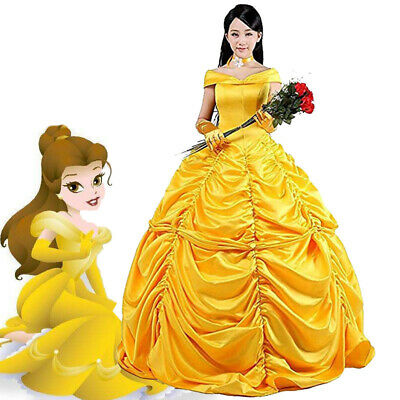 Cosplay Ball Gown Fancy Dress Adult Beauty and The Beast Princess Belle Costume