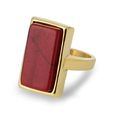 316L Stainless Steel Fashion 18K Gold Plated Ring Dark Red Square Stone Size 7-9 ()