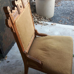 One antique  rocking chair and two single chairs