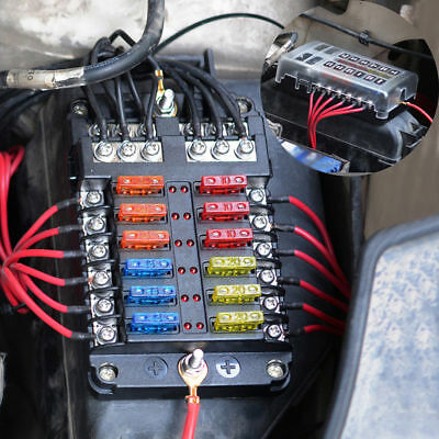 Car 12 Way Circuit Standard ATC ATO LED Fuse Box Block Holder DC 32V Universal