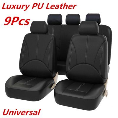 9PCS Black PU Leather Car Seat Cover Full Seat Cover Set Mat Protector! for sale  Canada