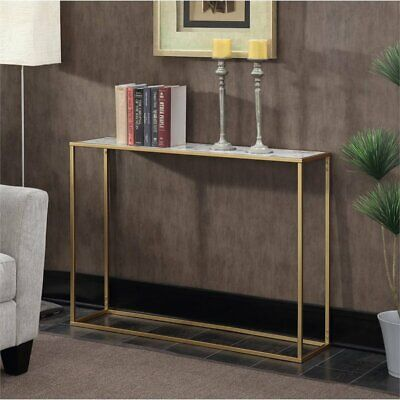 Convenience Concepts Gold Coast Faux Marble Top Console Table in Gold Gold Marble Top Console Table