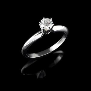 Diamond Engagement Ring 0.50CT Bague de fiançailles 14k or blanc