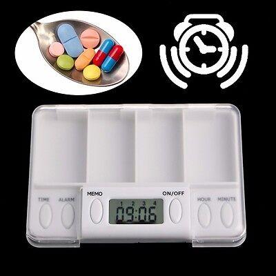 Pill Reminder Alarm - Pills Reminder Medicine Alarm Electronic Timer Box Case Organizer 4 Grid New