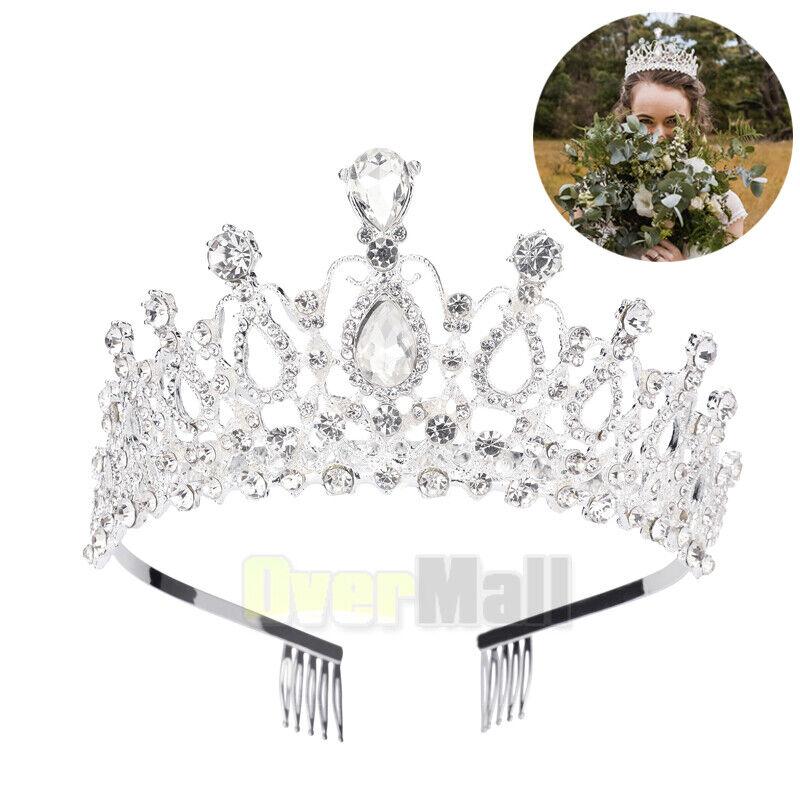 Bridal Princess Crystal Tiara Wedding Crown Veil Hair Accessory Silver+Two Combs