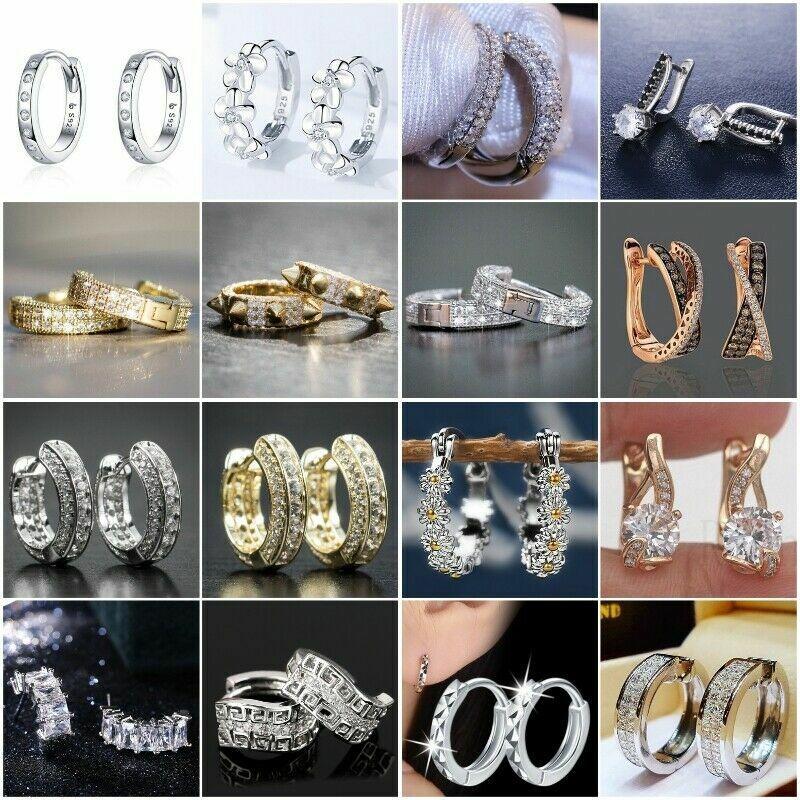 Elegant 925 Silver Ear Hoop Earrings for Women Cubic Zirconia Wedding Jewelry