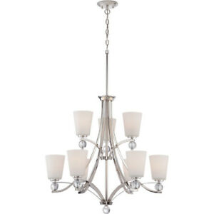 Nuvo Lighting 60/5499 Connie 9-Light 2-Tier Chandelier with Sati