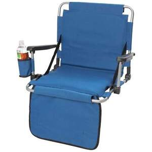 Blue Stadium/Bleacher Seat Cushion w/ Cupholder, Back Rest & Arm Rest