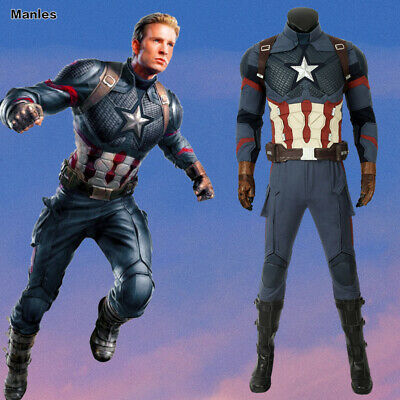 Avengers 4 Endgame Cosplay Captain America Costume Men Outfits Suits Halloween (Halloween Outfits For Men)