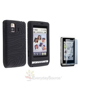 Black Rubber Silicone Gel Skin Case Cover+LCD Film Protector For LG DARE VX 9700
