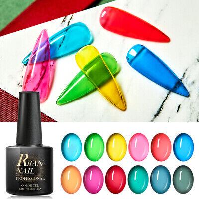 RBAN NAIL Jelly Glass Gel Nail Polish Spring Summer Translucent Neon Soak Off