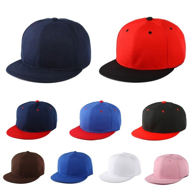 036f3243ae9 Details about Snapback Baseball Cap New Plain Hat Hip Hop Fitted Flat Peak  Stylish Canvas 1pc