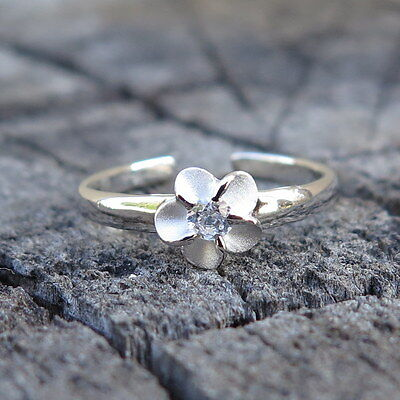 Hawaiian 925 Sterling Silver Plumeria Clear Center CZ Toe Ring 4mm TR1011