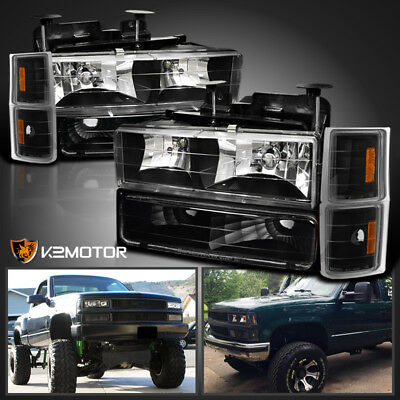 1994-1998 Chevy C10 C/K 1500/2500/3500 Black Headlight+Bumper+Corner Lamp