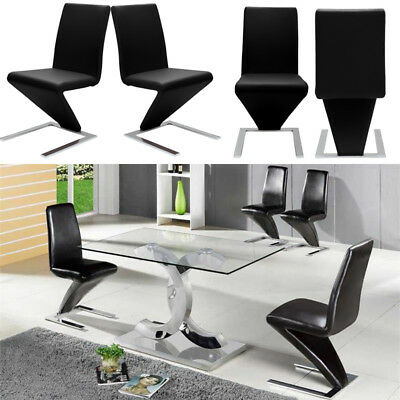 Dinning Glass Gloss Table and Padded Leather Chair Set Kitchen Dining Room Desor