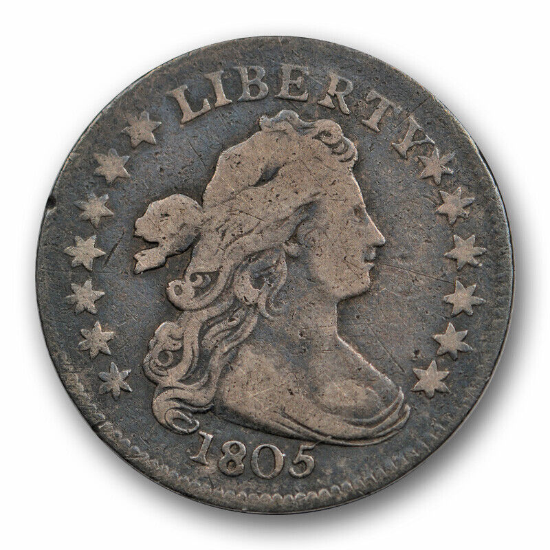 1805 10C Draped Bust Dime Fine F Original Toned Early American 4 Berries Variety