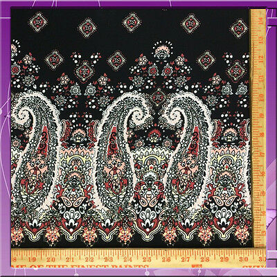 100% RAYON CHALLIS INDIAN INSPIRED PINK PAISLEY 2 BORDERS 56 / 58 INCHES W BLACK